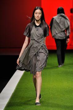 Monochrome Checkered Shirt Dress with Drape Layered Details