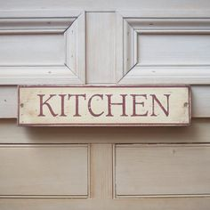 Kitchen Sign In Antique Cream And Oxblood . Vintage Style Hand Painted Wooden Sign. £30.00, via Etsy.