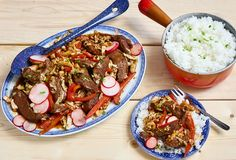 A Seoul-warming recipe - Korean Beef Stir-fry with napa cabbage and pickled radishes over jasmine rice!