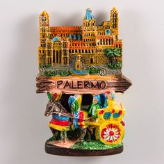 Resin Fridge Magnet: Italy. Sicily Cart and Road Sign