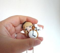 Alice in Wonderland with White Rabbit and Clock - kawaii style - cute polymer clay necklace by AudreyPinkStyle