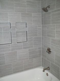 Gray Tiled Bathrooms Gray Tile Horizontal With Ikea Cabinet Tops
