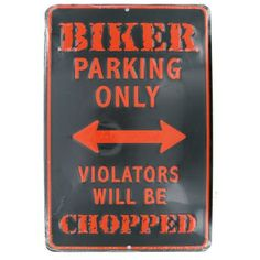 Biker Parking Only sign made in USA from aluminum.
