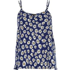 River Island Navy daisy print double strap cami top (€19) ❤ liked on Polyvore featuring tops, tank tops, shirts, tanks, navy blue camisole, spaghetti strap shirt, loose fitting tank tops, navy blue shirt and v neck cami