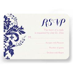 Damask navy blue, pink wedding RSVP reply card. #wedding #RSVP #damak