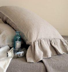 House of Baltic Linen - Natural linen pillow case with ruffle, $30.34 (http://www.houseofbalticlinen.com/natural-linen-pillow-case-with-ruffle/)