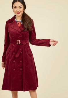 Layer on the Luxury Trench | Mod Retro Vintage Coats | ModCloth.com The posh elements of your look should never end at your outerwear, so employ this burgundy trench to continue your sophistication past your original ensemble choices! Offering a double-breasted silhouette with a flattering belt and deep pockets, this corduroy coat takes your style to indulgent depths.