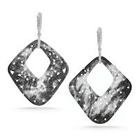 Cool and graphical black jade and diamond earrings by Dana Rebecca Designs.