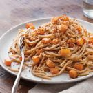 Substitute spiralized veggie pasta - Try the Whole-Wheat Spaghetti with Roasted Squash Recipe on williams-sonoma.com