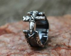 Men's rustic ring,Silver cross ring,Sterling Silver band,Christian ring symbol,Unisex ring,Silver artisan ring,Cool ring,Custom Size 4 - 16