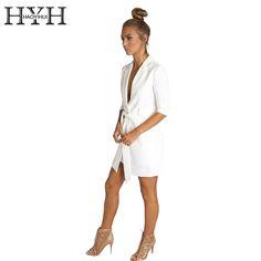 Hyh haoyihui חגורת צבע לבן מוצק גבירותיי שרוול ארוך מחורצים בליזר בלייזר חליפת ליזר סתיו משרד נשים אלגנטיות
