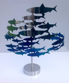 Circling Fish Sculpture by Richard Vasey Yacht Sculptures, the perfect gift for Explore more unique gifts in our curated marketplace. Fish Sculpture, Steel Sculpture, Sculptures, Beautiful Fish, Ocean Themes, Sports Gifts, Rustic Table, Fish Art, Environmental Art