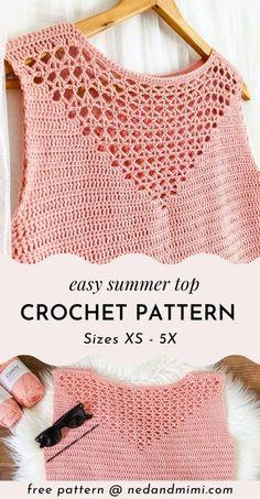 Blouse Au Crochet, Crochet Tank Tops, Crochet Summer Tops, Crochet Cardigan Pattern, Crochet Blouse, Crochet Top, Crochet Patterns, Mode Crochet, Crochet Fashion