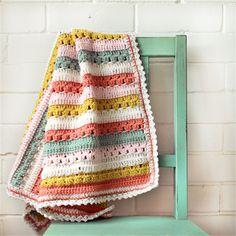 baby blanket | crochet   stripes | pure wool