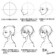 Head and hair 横顔/身体/服のシワの描き方のようなもの。|ほさしー Drawing Heads, Drawing Poses, Manga Drawing, Drawing Tips, Drawing Reference, Manga Art, Drawing Sketches, Anime Art, Cartoon Drawings