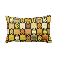 African print with meaningful Adinkra symbols Throw Pillow | Zazzle ($40) found on Polyvore