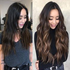 2 rows of 18 inch extensions Brown Hair Balayage, Brown Hair With Highlights, Balayage Brunette, Brunette Hair, Blonde Hair, Brown Hair Extensions, Hair Extensions Before And After, 18 Inch Hair, Cabelo Ombre Hair
