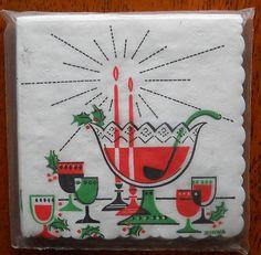 Christmas vintage cocktail napkins