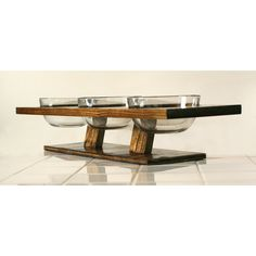 Designer dog or cat food bowl set elevated floating triple feeder water dish set