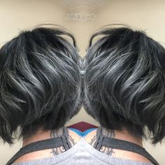 https://www.facebook.com/JaidCoHairStudio/  iG:Jaid_Co Black and Titanium Gray Hair  Pravana vivids Silver and Joico intensity