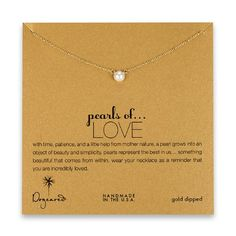DOGEARED- Pearls of Love Necklace in Gold Dip