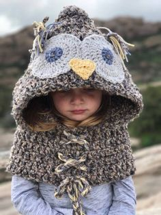 Hooded Owl Cowl PATTERN ONLY CROCHET Size by BeccasBeanies