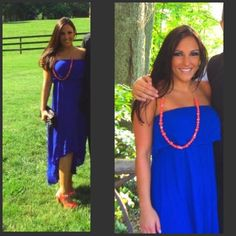 Strapless royal blue maxi Worn once for a wedding. Beautiful on. You can dress it up like I did or even dress it down with sandals! Size small I love H81 Dresses Maxi