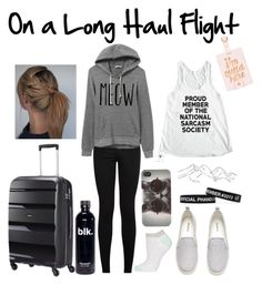 """""""Long Haul Flight"""" by jessie-makes-outfits ❤ liked on Polyvore featuring American Tourister, Bando, Topshop, H&M and With Love From CA"""