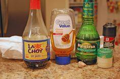 Honey Pork Chops - honey,cider vinegar, ground ginger, garlic, minced, soy sauce  dash black pepper