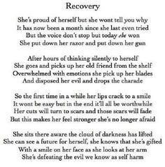 Everyone that has ever dealt with depression or self harm needs to read this. This is a beautiful poem.