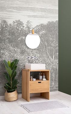 The riverside etching wall styles a room with a lush jungle theme. The riverside etching wall styles a room with a lush jungle theme. This vintage design offers a mod Wood Panel Bathroom, Glass Bathroom Cabinet, Jungle Wallpaper, Tropical Wallpaper, Wallpaper Murals, Photo Wallpaper, Green Glass Door, Bathroom Wallpaper Trends, Rustic Bathtubs