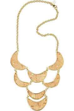 gold-plated necklace with crescent-shaped gold-flecked cork embellishments at drop. Kara Ross necklace is made of metal alloy, has a designer-stamped tag at back and a lobster clasp to fasten at neck. Marc Jacobs Clutch, Cork Necklace, Burberry Shoes, Gold Plated Necklace, 14 Karat Gold, Classic White, White Tees, Pendants, Jewels