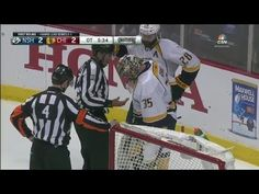Pekka Rinne can't find the puck! This was by far the funniest thing I have ever seen watching a hockey game! :)
