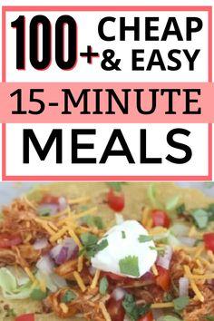 The best affordable dinner ideas for a family on a budget. #budgetfriendlydinnerideas #cheapdinnerideas 15 Minute Dinners, Fast Dinners, Cheap Dinners, Quick Meals, Dinner On A Budget, Dinner Ideas, Dinner Recipes, Fast Easy Dinner, Cooking On A Budget