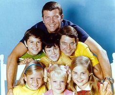 """The Brady Bunch - Mike Brady and his boys (Peter, Bobby and Greg) welcome 3 new daughters (Jan, Cindy and Marcia) to the """"bunch"""" in Season 1."""