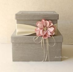 Wedding Card Box, but with ivory and a coral colored flower (and of course more burlap)