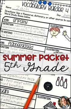 Summer Packet for to Grade 5th Grade Writing, Fifth Grade, Reading Lessons, Math Lessons, Math Stations, Math Centers, Math Worksheets, Math Activities, Math Vocabulary