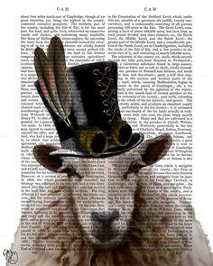 Kunstdruck Steampunk Steampunk Schafe Kunstbuch Seite von FabFunky, $15.00