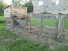 Wooden pallet rabbit hutch