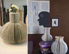 Vases made out of books?  Yes please!  These would be awesome as decorations for the office or even as wedding centerpieces.