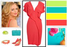 Heather Graham is a clear spring. This collage captures the essence of a clear spring. For more outfit ideas for a clear spring plus to get your FREE personal seasonal color analysis visit http://OutfitIdeas4You.com