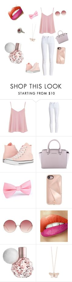 """Pink outfit"" by viktaa ❤ liked on Polyvore featuring Topshop, Barbour, Converse, MICHAEL Michael Kors, Rebecca Minkoff, Linda Farrow and Alex Monroe"