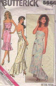 MOMSPatterns Vintage Sewing Patterns - Butterick 5666 Vintage 80's Sewing Pattern GORGEOUS Unusual Strapless Cuffed Bodice Summer Party Dress, Red Carpet Asymmetric Flounce Hem Formal or Beach Wedding Gown Size 12-16