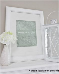 Framed wedding lyrics are a simple but beautiful way to add one of the most special moments of a wedding night to home decor. Unlike some of the other ideas this one is something that can be done right after the wedding or several years later.