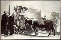 Mark Tansey, The Innocent Eye Test, 1981, olieverf op doek, 198 x 305 cm, collectie Metropolitan Museum of Art, New York.  Tansey stelt altijd prikkelende vragen met zijn schilderijen. Wat ziet de koe? Een schilderij van Paulus Potter? Of een jonge stier? En daarmee stelt hij de vraag wat wij eigenlijk zien.  Vaak neemt hij de serieuze kanten van kunst en wetenschap op de hak in zijn werk.