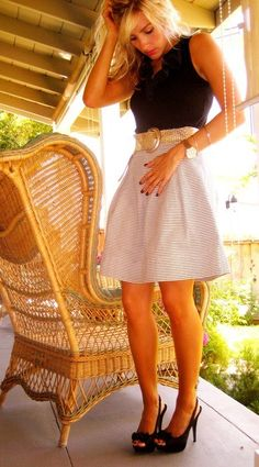 love this.  striped skirt, belt & top
