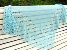 Rock Island Green Lace Shawl. Ready To Ship. Free Ship