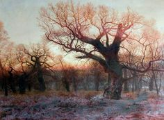 In Sherwood Forest, Nottinghamshire: Winter Evening after Rain  by Andrew MacCallum        Date painted: 1881      Oil on canvas, 113 x 152.4 cm      Collection: Victoria and Albert Museum