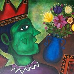 The Emerald King by Justin Abelman King Of Hearts, Naive Art, Fantastic Art, African, Artist, Artwork, Emerald, Portraits, Painting