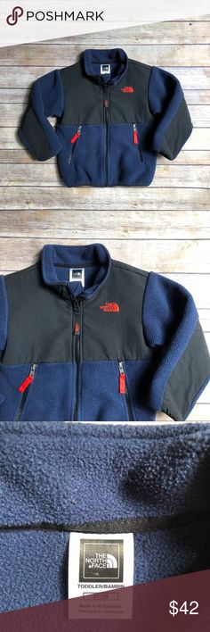 North Face Denali Fleece Jacket Size 3T navy blue and black North Face Denali Jacket in very good used condition.  Worn sparingly.  Shows minor wash wear typical of fleece.  Bright orange zipper pulls.  Named is marked out in the inside tag.    Product description from The North Face site: An all-around iconic fleece jacket crafted of mid-to-heavyweight fleece for comfort and protection during cool weather adventures. Abrasion-resistant panels on the torso, shoulders, and elbows improve…